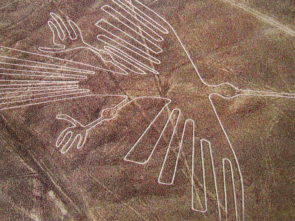Colibri dessiné sur les lignes de Nazca au Pérou