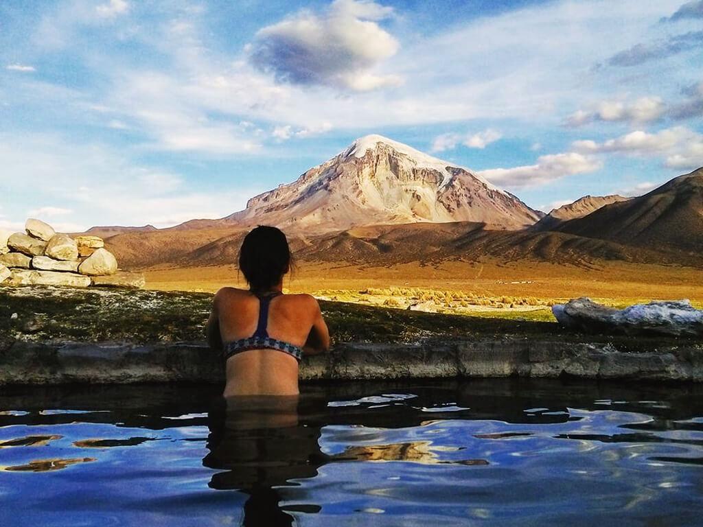 Eaux thermales du parc national Sajama en Bolivie