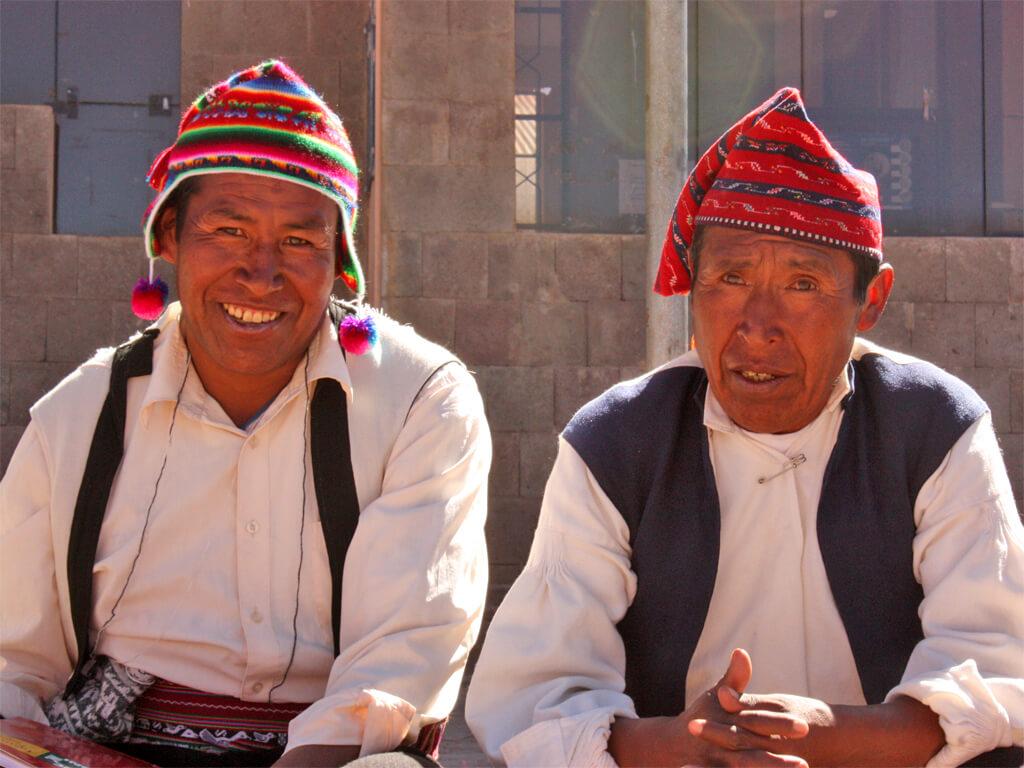 Habitants de l'Île de Taquile au Pérou